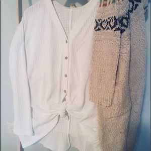 Tops - WHITE Oversized Luxuriously Soft Button Thermal.